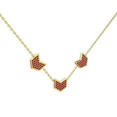 Üçlü Menta Kolye - Rodolit garnet 14 ayar altın kolye (40 cm altın rolo zincir) #16t9grm