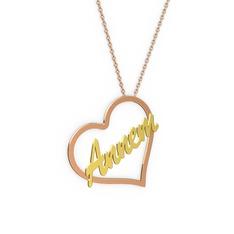 Kalpli İsim Kolye - 14 ayar rose altın kolye (5 karakterli el yazısı, 40 cm rose altın rolo zincir) #fhis4n