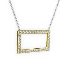 Dikdörtgen Kolye - Beyaz zirkon 14 ayar altın kolye (40 cm beyaz altın rolo zincir) #1wdgoe4