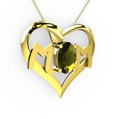Mom Kolye - Peridot 14 ayar altın kolye (40 cm altın rolo zincir) #1rp9g4b