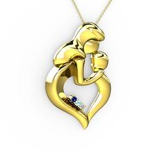 Anne Çocuk Kalp Kolye - Lab safir, pırlanta ve akuamarin 14 ayar altın kolye (0.015 karat, 40 cm altın rolo zincir) #1f4szod
