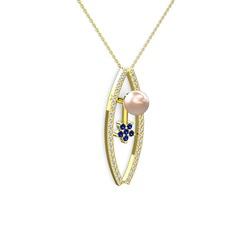 Alyis İnci Kolye - Pembe inci, swarovski ve lab safir 14 ayar altın kolye (40 cm gümüş rolo zincir) #6k3zec