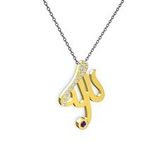 Taşlı Allah Yazılı Kolye - Beyaz zirkon ve ametist 14 ayar altın kolye (40 cm gümüş rolo zincir) #pp290x