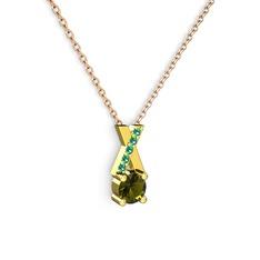 Taşlı Daire X kolye - Peridot ve yeşil kuvars 14 ayar altın kolye (40 cm rose altın rolo zincir) #1tmp419