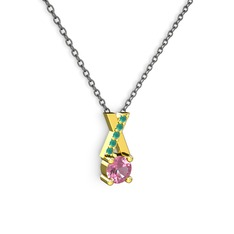 Taşlı Daire X kolye - Pembe kuvars ve kök zümrüt 14 ayar altın kolye (40 cm gümüş rolo zincir) #ohv9dc