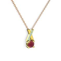 Taşlı Daire X kolye - Kök yakut ve akuamarin 14 ayar altın kolye (40 cm rose altın rolo zincir) #rmsnkp