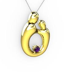 Aile Kolye - Ametist 14 ayar altın kolye (40 cm gümüş rolo zincir) #1u0tipf