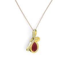 Büyük Ria Kolye - Swarovski ve kök yakut 14 ayar altın kolye (40 cm rose altın rolo zincir) #1w0ssp7