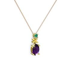 Oval Taşlı X kolye - Ametist ve kök zümrüt 14 ayar altın kolye (40 cm rose altın rolo zincir) #1c3g36c