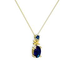 Oval Taşlı X kolye - Lab safir 14 ayar altın kolye (40 cm altın rolo zincir) #e74z7v