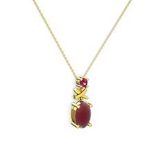 Oval Taşlı X kolye - Kök yakut ve rodolit garnet 14 ayar altın kolye (40 cm altın rolo zincir) #p0hpcj