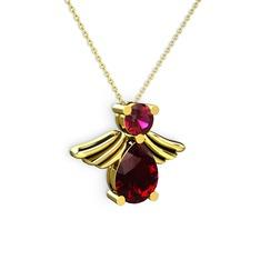 Fabriel Melek Kolye - Garnet ve rodolit garnet 14 ayar altın kolye (40 cm altın rolo zincir) #1it1ftp