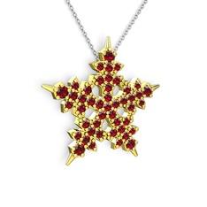 Mona Kar Tanesi Kolye - Garnet 14 ayar altın kolye (40 cm beyaz altın rolo zincir) #4wsem0