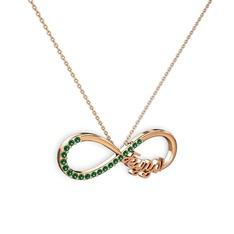 İsimli Sonsuzluk kolye - Yeşil kuvars 925 ayar rose altın kaplama gümüş kolye (40 cm gümüş rolo zincir) #114kvxg