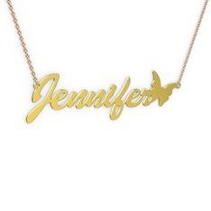 Kelebek İsim Kolye - 14 ayar altın kolye (8 karakterli el yazısı, 40 cm rose altın rolo zincir) #x3i9ly