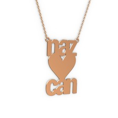 İsim Kalp Kolye - 925 ayar rose altın kaplama gümüş kolye (6 karakterli arial, 40 cm gümüş rolo zincir) #11xmux