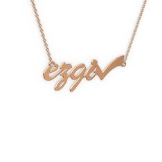 Tik İşaretli İsim Kolye - 925 ayar rose altın kaplama gümüş kolye (4 karakterli el yazısı, 40 cm gümüş rolo zincir) #1i7co0