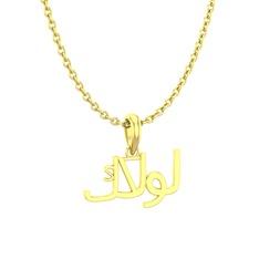 Arapça Kolye - 925 ayar altın kaplama gümüş kolye (15 karakterli times new roman, 40 cm gümüş rolo zincir) #3l0tih