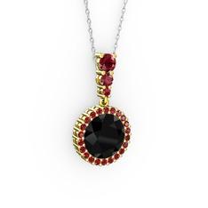 Lavinya Kolye - Siyah zirkon ve garnet 14 ayar altın kolye (40 cm beyaz altın rolo zincir) #1u4aks0