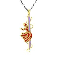 Semazen Elif Kolye - 14 ayar altın kolye (Menekşe mineli, 40 cm gümüş rolo zincir) #ezcoij