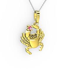 Yengeç Kolye - Pembe kuvars ve dumanlı kuvars 14 ayar altın kolye (40 cm beyaz altın rolo zincir) #op8279