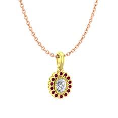 Rayiha Kolye - Swarovski ve rodolit garnet 14 ayar altın kolye (40 cm gümüş rolo zincir) #xpemce