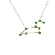 Leo Kolye - Yeşil kuvars 14 ayar altın kolye (40 cm altın rolo zincir) #3jef55