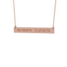 Koordinat Kolye - 925 ayar rose altın kaplama gümüş kolye (40 cm gümüş rolo zincir) #o5rb9x