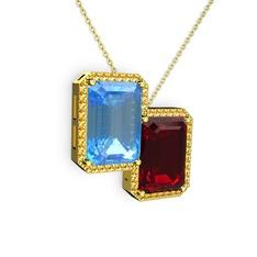 Avis Kolye - Akuamarin, garnet ve sitrin 14 ayar altın kolye (40 cm altın rolo zincir) #61lish