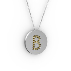 B Baş Harf Kolye - Dumanlı kuvars 14 ayar beyaz altın kolye (40 cm gümüş rolo zincir) #dzqxjj