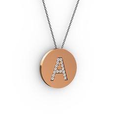 A Baş Harf Kolye - Swarovski 8 ayar rose altın kolye (40 cm gümüş rolo zincir) #tsqags