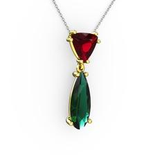 Arowana Kolye - Garnet ve yeşil kuvars 14 ayar altın kolye (40 cm beyaz altın rolo zincir) #ljwnj6