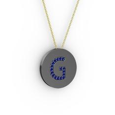 G Baş Harf Kolye - Lab safir 925 ayar siyah rodyum kaplama gümüş kolye (40 cm altın rolo zincir) #1cx7ifo
