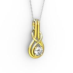 Düğüm Kolye - Beyaz zirkon 14 ayar altın kolye (40 cm gümüş rolo zincir) #1lqa6u1