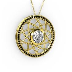Vanida Kolye - Beyaz zirkon ve siyah zirkon 14 ayar altın kolye (40 cm altın rolo zincir) #rweelj