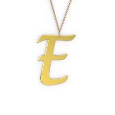 E Harf Kolye - 8 ayar altın kolye (40 cm rose altın rolo zincir) #n8rqk4