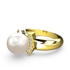 Lina İnci Yüzük - Inci ve swarovski 925 ayar altın kaplama gümüş yüzük #1tgsn17