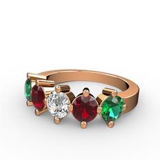 5 Taşlı Yüzük - Swarovski, garnet ve yeşil kuvars 925 ayar rose altın kaplama gümüş yüzük #10p3h5s