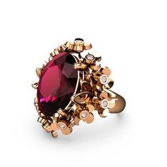 Belka Demet Yüzük - Rodolit garnet ve pembe kuvars 925 ayar rose altın kaplama gümüş yüzük #cy691i