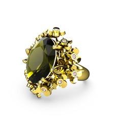 Belka Demet Yüzük - Peridot ve pembe kuvars 925 ayar altın kaplama gümüş yüzük #ofzs99