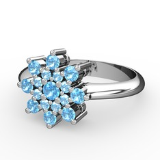 Rivel Yüzük - Akuamarin 925 ayar gümüş yüzük #1anyhal