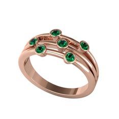 İnara Yüzük - Yeşil kuvars 925 ayar rose altın kaplama gümüş yüzük #1g53l5x