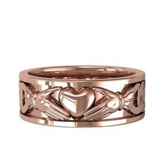 Taşsız Claddagh Yüzük - 925 ayar rose altın kaplama gümüş yüzük #1iotovk