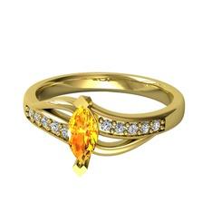 Riha Sonsuzluk Yüzük - Sitrin ve swarovski 925 ayar altın kaplama gümüş yüzük #13iilzo