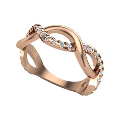Taşlı Sonsuzluk Alyans - Swarovski 925 ayar rose altın kaplama gümüş yüzük #wn784n