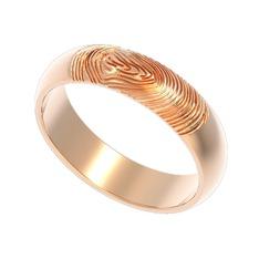 Parmak İzi Alyans - 925 ayar rose altın kaplama gümüş yüzük #1a91ov4