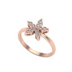 Yasemin Çiçeği Yüzük - Swarovski 925 ayar rose altın kaplama gümüş yüzük #1cyilqo