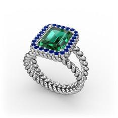 Ellora Yüzük - Yeşil kuvars ve lab safir 925 ayar gümüş yüzük #oupks