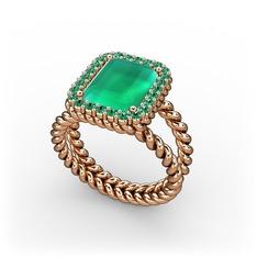 Ellora Yüzük - Kök zümrüt ve yeşil kuvars 925 ayar rose altın kaplama gümüş yüzük #vkptol