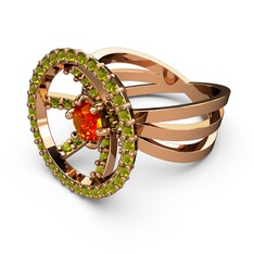 Mayra Çember Yüzük - Peridot ve sitrin 925 ayar rose altın kaplama gümüş yüzük #10fqtt1